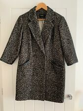 M&S Autograph Black & White Mix Unstructured Wool Blend Coat Size 10