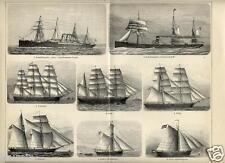 1899= NAVI MERCANTILI = Nautica = Stampa Antica = Old Engraving