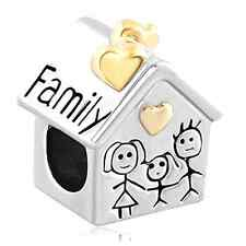 Family Heart Love House Mom Silver Plated Charm Bead fit Pandra Jewelry Bracelet