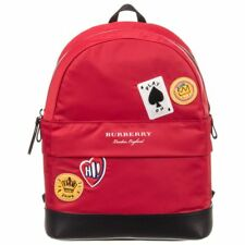NWT NEW Burberry Nico kids girls boys Red Cards Logo Backpack back pack rucksack
