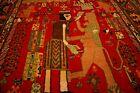 COLLECTORS' PIECE Antique King with Lion Fighting Tribal Carpet