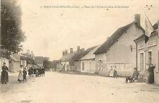CARTE POSTALE BUREAU DE TABAC JUSSY CHAMPAGNE CHER PLACE DE L'EGLISE ET ROUTE
