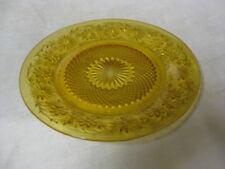 """4 Amber Daisy Salad Plates 7 3/8"""" 40 50 60's Glass Indiana"""