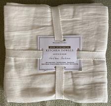 WILLIAM SONOMA NEW SET OF 3 ORGANIC COTTON FLOUR SACK KITCHEN TOWELS