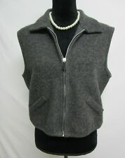 Limited Wool Vest Top Womens size Large Gray Zipper Faux Pockets