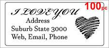100 Personalised return address label custom sticker 56x25mm love heart wedding