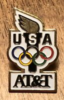 AT&T Team USA Olympic Torch Advertising Sponsor Lapel Hat Pin Pinback ~ Rings