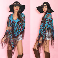 Teal Draped Fringe Silk Burnout Velvet Hippie Boho Gypsy Festival Cape Poncho