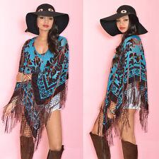 Teal Draped Fringe Silk Burnout Velvet Hippie Boho Gypsy Festival Cape Poncho