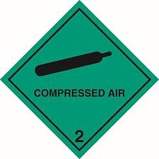"""Health and safety Hazard sticker Compressed Air 2 sticker 5"""" green"""