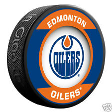 "EDMONTON OILERS ""Retro"" Series Team Logo Model SOUVENIR PUCK NEW In GlasCo"