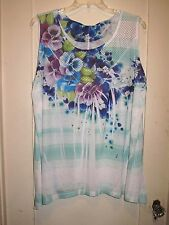 Lovely Only 9 Aqua/White Bright Floral Shell/Top Burnout Lace Neckline  3X New