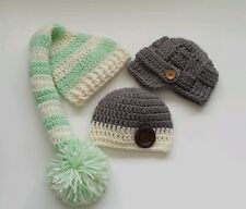 Lot of 3 Newborn Baby boy Hats Crochet Infant photography prop Gift Baby Gift