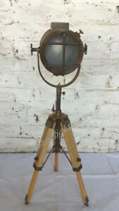 Antique Floor Searchlight With Tripod Stand Spot Light Studio Nautical Light