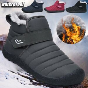 Couple Mens Womens Snow Boots Casual Waterproof Soft Warm Fur Slip On Work Shoes
