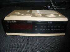 Vintage Sony Dream Machine Am/Fm Clock Radio Icf-C4W Vtg Tested Tan