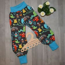"handmade ""Frida"" Pumphose Hose MONSTONELLO Monster türkis bunt SWEAT Gr. 116"