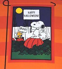 Peanuts BOO! Happy Halloween! Snoopy & Woodstock Greeting Garden Flag 12 x 18