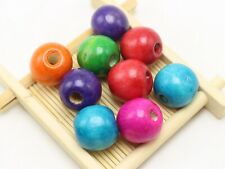 50 Mixed Color 18mm Large Round Wood Beads~Wooden Beads