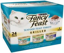 Fancy Feast Wet Cat Food, Grilled, Seafood Variety Pack, 3-Ounce Can, Pac