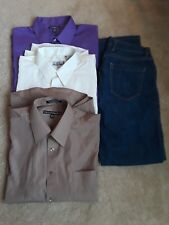 Lot of 4 Men's items: 3 Dress Shirts and 1 Pair of Jeans: Size Medium/ 30/30
