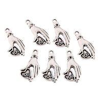 New love hand Tibetan Silver Bead charms Pendants fit bracelet 10pcs 22x17mm