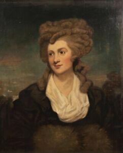 Stunning Antique 18th Century Portrait Painting of a Lady att Joshua Reynolds