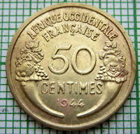 FRENCH WEST AFRICA 1944 50 CENTIMES - PROVISIONAL GOVERNMENT OF FRENCH REPUBLIC