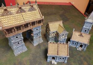 Town / City Buildings Plastic Terrain Painted 28mm Fantasy Miniatures Nice! D&D