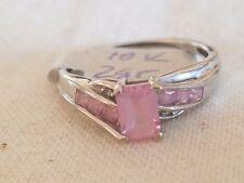 WHITE GOLD 1CT PINK SAPPHIRE & DIAMOND RING. SIZE 7