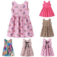 Kids Baby Girls Toddler Sleeveless Floral Print Princess Party Tutu Mini Dress