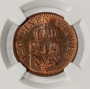 Prussia 1873 A 3 Pfennig NGC MS 65 RB Silky Coppery Red Tones, Luster !