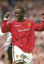 Hand Signed 8x12 photo DWIGHT YORKE Man Utd Manchester United Football + COA