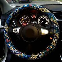 "Automotive Ethnic Style Flax Cloth Wrap Anti Slip Car Steering Wheel Cover 15"""