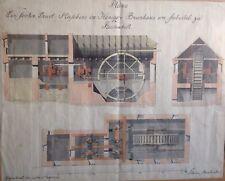 technische Zeichnung 1831 Brunnhaus Seebichl Reichenhall Skizze Industrie Kunst