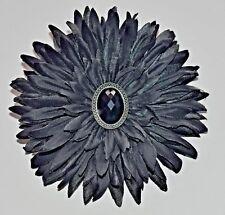 "5"" Jet Black Gerbera Daisy Black Rhinestone Silk Flower HAIR Clip BROOCH Pin"