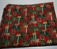 """2yds x 42"""", Unbranded, """"Red & Green Wrapped Presents"""", Cotton Fabric"""