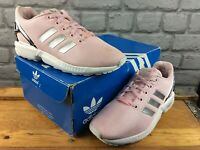 ADIDAS UK 4 EU 36 2/3 ZX FLUX TRAINERS PINK METALLIC SILVER CHILDRENS LADIES M