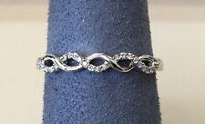 14K White Gold Ladies Diamond Infinity Knot Braided Wedding Band