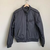 Members Only Vintage Mens Racer Jacket Gray Zip Snaps Pockets Insulated Size 38