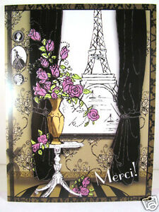 Glam Retro Frou Frou Greeting Card Thank You Card Pink Roses Paris Eiffel Tower