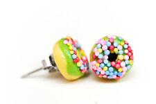 Lime Green Donut /  Doughnut - sprinkles Stud Earrings-Kawaii Kitsch -Rockabilly