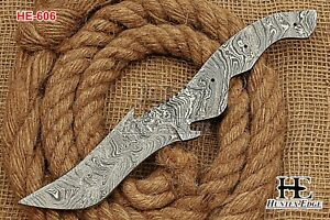 HUNTEX New Custom Hand-Forged Damascus Steel 265 mm Long Tanto Blank Blade Knife