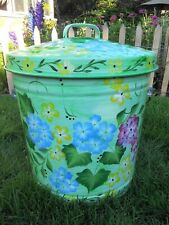 Hand Painted 10 Gallon Galvanized Trash Garbage Cans