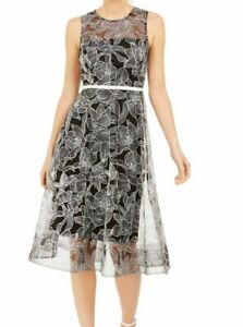 Calvin Klein Womens Dress Black Size 12 A-Line Embroidered Floral $229 235