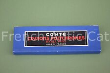 P631 Ancienne boite  CONTE CRAYON POLYCHROMES extra fins bleu 1092 bis 3 crayon