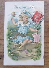 Cartolina d'epoca in rilievo Bambini - 1908 - postcard - tarjeta -