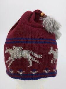 VTG Equestrian Horse 100% Wool Beanie Winter Ski Cap Hat Hand Loomed in USA