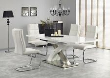 """SANDOR 2"" White High Gloss & White Glass Top Extending Dining Table & Chairs"