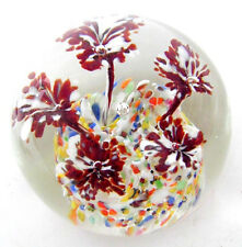 Pretty Controlled Bubble Glass Paperweight Red& White Flowers, Multi-Color Groun